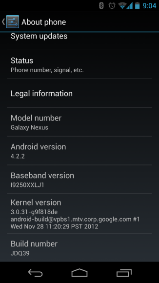 "Für das Galaxy Nexus liegt Android 4.2.2 bereits vor (Screenshot: <a href=""http://www.reddit.com/r/Android/comments/18cpzr/422_is_rolling_out_i_just_got_my_official_update/"" target=""_blank"">Reddit-Nutzer WeeManFoo</a>)."