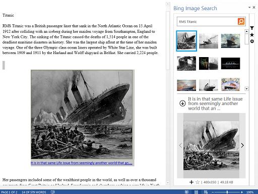 Bing Image Search erlaubt das Einbinden von Bildern in Word (Bild: Microsoft).