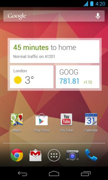 Mittels Widget zeigt Google Now Verkehrs- und Wetterdaten jetzt auch auf dem Homescreen an (Bild: Google).