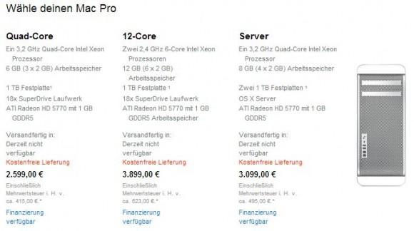 Der Mac Pro ist ab sofort nicht mehr in Apples Online Store verfügbar (Screenshot: ZDNet.de).