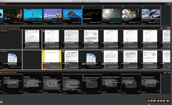 IamOrganized ordnet Dokumente auf Projektachsen an. Apple hat die Patente an dieser Technik aufgekauft (Screenshot: Maya-Systems).