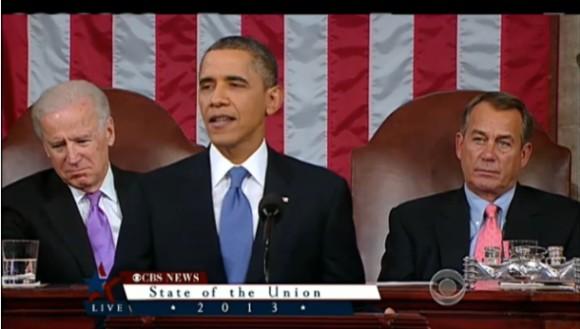 Präsident Obama währen der Rede zur Lage der Nation (Bild: CBS)