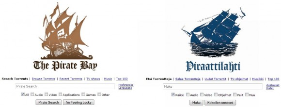 Original und Fälschung: Links die Pirate-Bay-Website, rechts die Kopie des CIAPC (Screenshot: Lance Whitney/CNET).