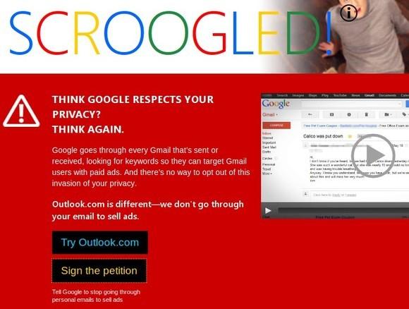 Mit einer Negativ-Kampagne will Microsoft zum Umstieg auf seinen E-Mail-Dienst bewegen (Screenshot: ZDNet.de)