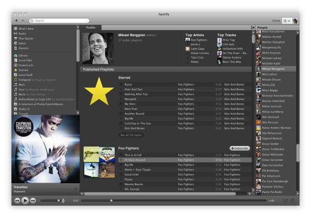 Social-Seite bei Spotify