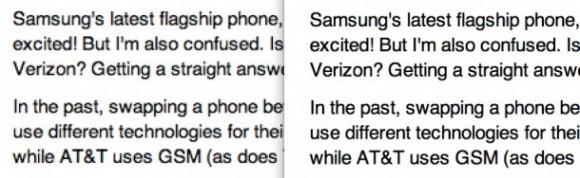 Text auf einem normalen und auf einem Retina-Bildschirm (Bild: News.com)
