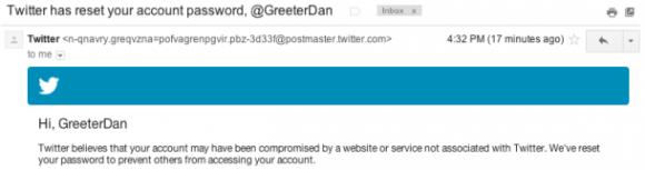 Die E-Mail-Benachrichtung, die News.com-Autor Daniel Terdiman und bis zu 250.000 Twitter-Nutzer erhielten