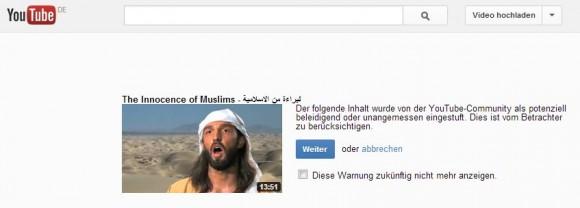 Beim Aufruf des umstrittenen Videos zeigt Youtube einen Warnhinweis an (Screenshot:ZDNet.de).