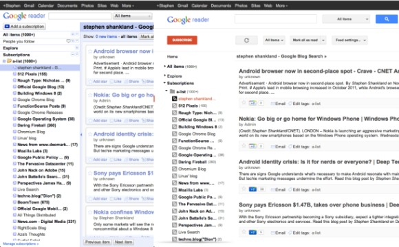 Google Reader wurde 2011 grundlegend neu gestaltet (Screenshot: S. Shankland / CNET.com)