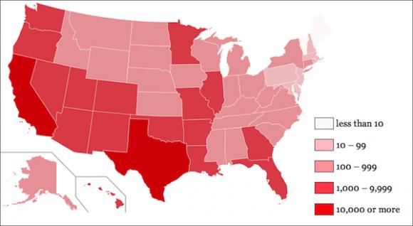 Geografische Verteilung der amerikanischen Chameleon-Bots (Bild: Spider.io)