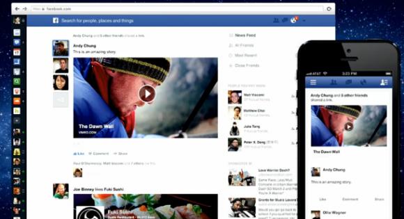 Facebooks neuer News Feed zeigt Fotos und Videos in einem Spalten füllenden Format an (Screenshot: Josh Lowensohn / News.com).