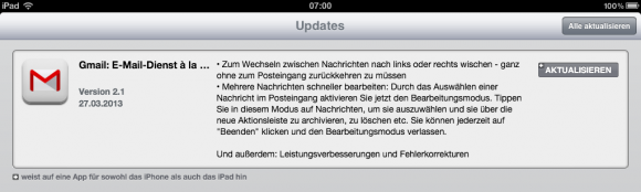 Gmail für iOS Version 2.1