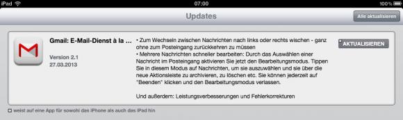 Gmail für iOS Version 2.1