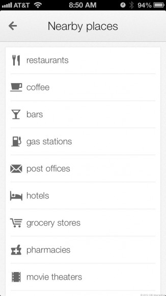 Interessante Orte wie Restaurants oder Tankstellen zeigt Maps für iOS jetzt nach Kategorien sortiert an (Screenshot: Josh Lowensohn/News.com).
