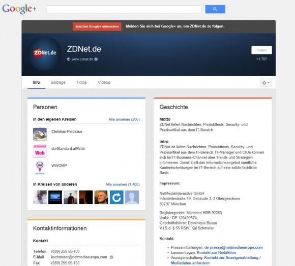 Die überarbeitete Info-Seite zeigt jetzt Informationen zum Inhaber eines Google+-Kontos in Kartenform an (Screenshot: ZDNet.de).