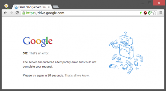 Fehlermeldung Google Drive
