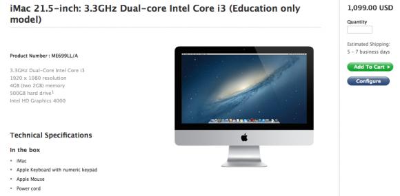 Der aktualisierte Bildungs-iMac kostet 1099 Dollar (Screenshot: Dara Kerr/ News.com).