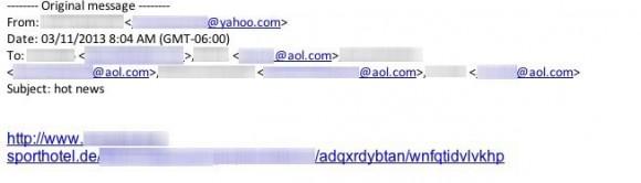 Spam-Werbung, hinter der sich der Trojaner NotCompatible verbirgt (Bild: Lookout)