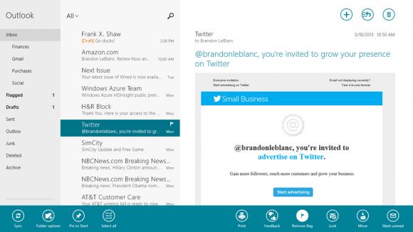 Microsoft hat die Mail-Anwendung für die neue Oberfläche von Windows 8 aktualisiert (Bild: Microsoft).