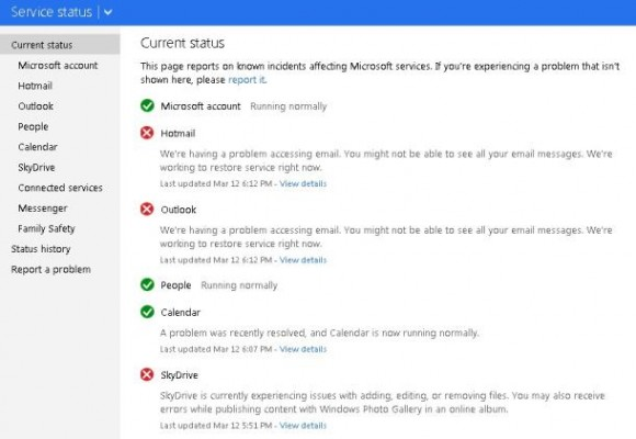 Statuswebsite von Microsoft