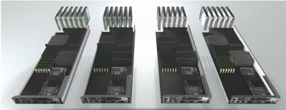 Ein zerlegter NX-Block von Nutanix: Jeder Block enthält vier Server-Prozessoren, jeweils mit Arbeits- und SSD-Speicher, Festplatten, Netzwerkkomponenten und einer Vorinstallation von VMware vSphere 5.x sowie Nutanix-Betriebssystem und -Filesystem (Bild: Nutanix)