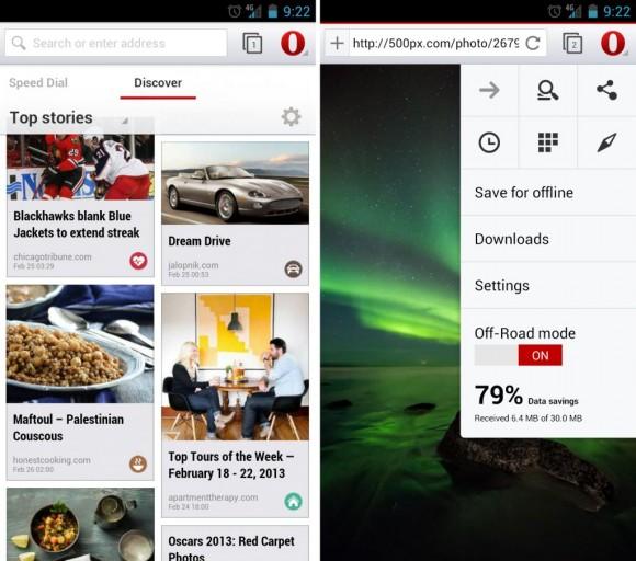 Zwei neue Funktionen von Opera für Android: Discover (links) und der Off-road-Modus (Bild: Opera).