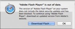 Safari blockiert veraltete Versionen von Adobes Flash-Plug-in.