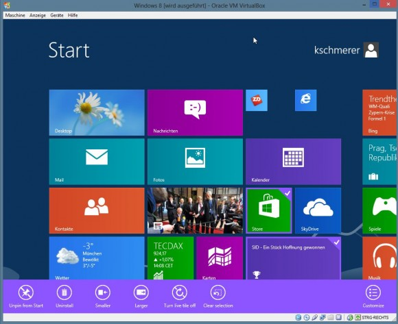 Windows 8.1: Tiles are manifest in three sizes (screenshot ZDNet.de)