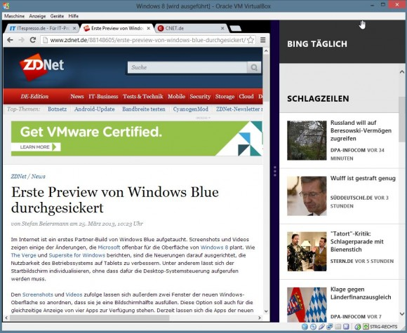 Windows 8 Blue: Apps lassen sich nebeneinander anordnen (Screenshot: ZDNet.de)