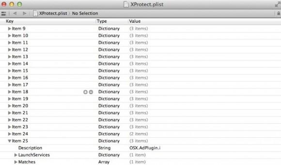 """Eine neue XProtect-Definition erkennt """"OSX.AdPlugin.i"""" (Screenshot: ZDNet.de)"""