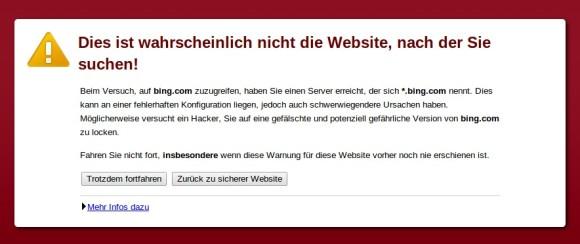 Chrome warnt vor einer potenziell gefährlichen Bing-Version (Screenshot: ZDNet.de)
