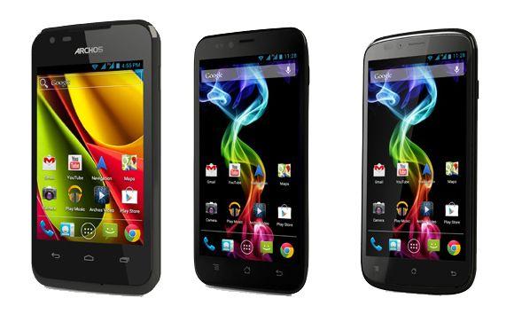 Archos' erste Smartphone-Modelle (von links nach rechts): 35 Carbon, 50 Platinum und 53 Platinum (Bild: Archos).
