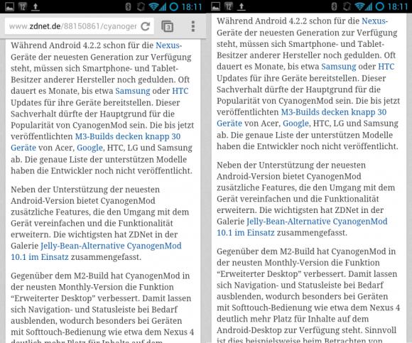 Chrome Beta für Android: Vollbildansicht