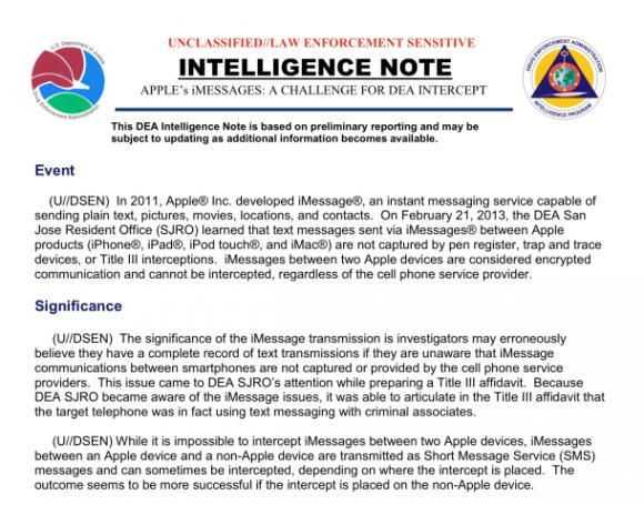 Intelligence Note der US-Drogenbehörde DEA