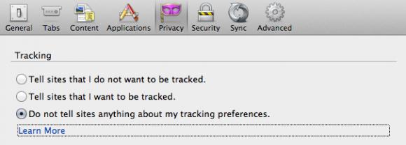 Firefox bietet drei verschiedene Do-Not-Track-Eistellungen (Bild: Mozilla).