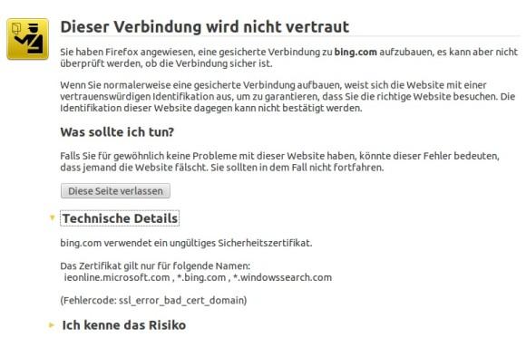 Firefox sieht ein ungültiges Sicherheitszertifikat (Screenshot: ZDNet.de)