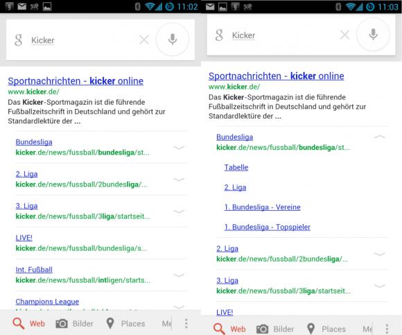 Die ausklappbaren Links auf der Ergebnisseite führen Mobilnutzer schneller zu den gewünschten Unterseiten einer Website (Screenshot: ZDNet.de).