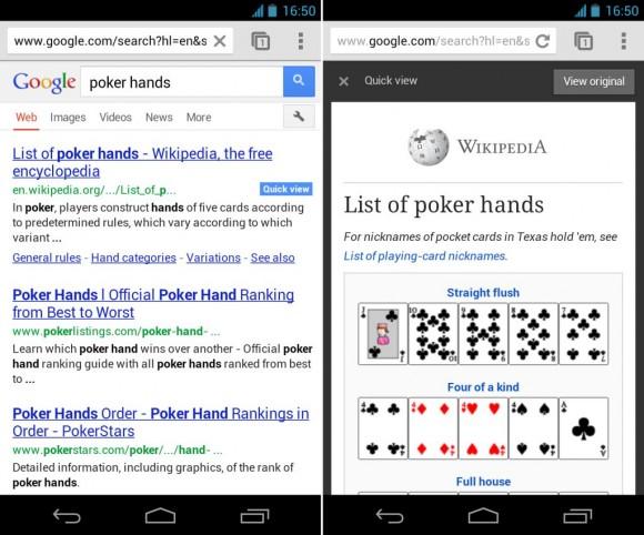 """Die experimentelle Funktion """"Quick View"""" zeigt Inhalte aus Wikipedia an (Bild: Google)."""