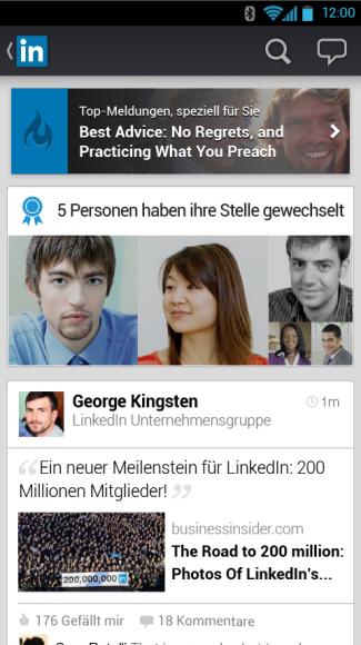 Der dynamische Stream steht im Zentrum der neuen LinkedIn-Apps (Bild: LinkedIn).