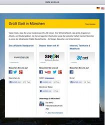 Die Startseite von M-WLAN (Bild: SWM)
