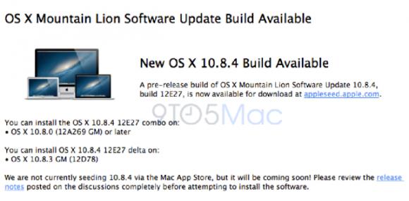"""Die erste Beta von OS X 10.8.4 trägt die Build-Nummer 12E27 (Bild <a href=""""http://9to5mac.com/2013/04/01/apple-begins-seeding-first-os-x-10-8-4-beta-to-testers/"""" target=""""_blank"""">via 9to5Mac</a>)."""