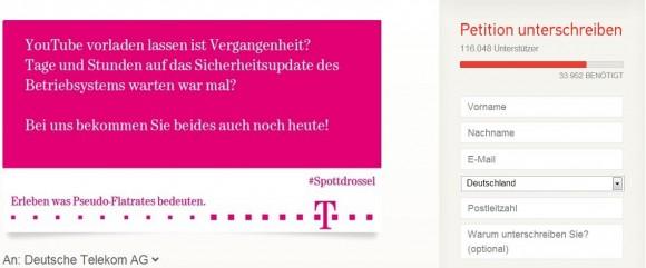 Die Online-Petition gegen die DSL-Drosselung der Telekom hat schon über 116.000 Unterzeichner gefunden (Screenshot: ZDNet.de).