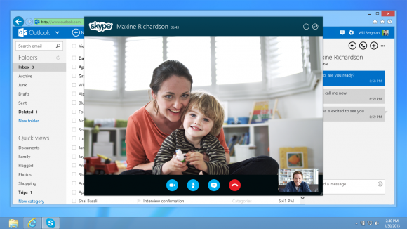 Künftig sind Skype-Anrufe direkt aus Outlook.com möglich (Bild: Microsoft).