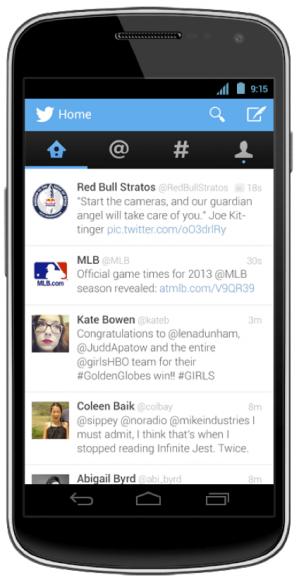 Die neue Oberfläche von Twitter für Android (Bild: Twitter)