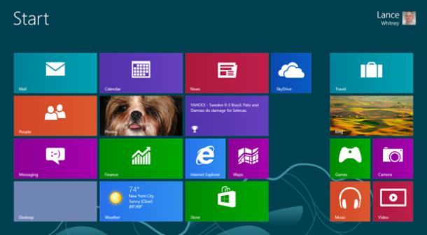 Startbildschirm von Windows 8 mit neuer SkyDrive-Dateiverwaltung