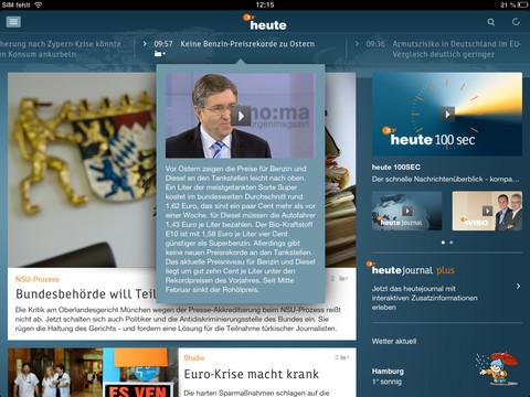 Die heute-App des ZDF steht jetzt auch für Tablets wie Apples iPad zur Verfügung (Bild: ZDF).