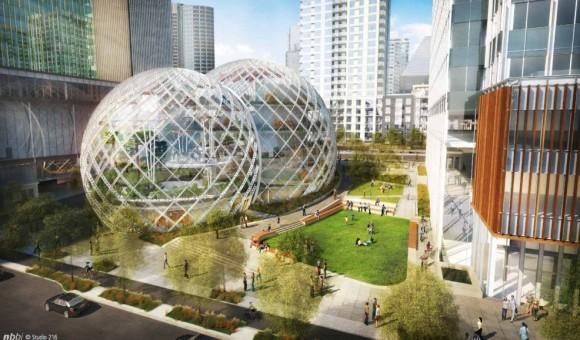 Konzeptzeichnung des neuen Amazon-Campus in Seattle (Bild: NBBJ)
