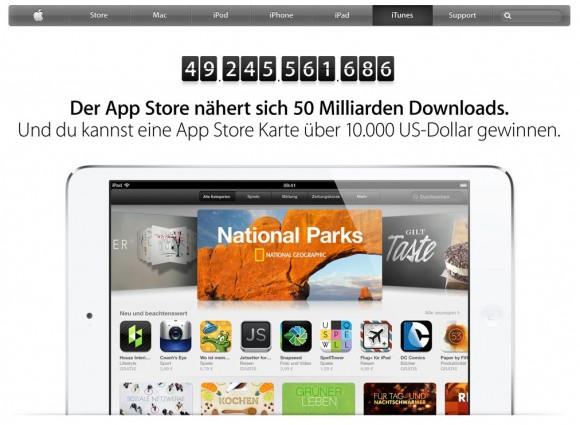 Noch fehlen bis zum Erreichen der 50-Milliarden-Marke rund 750 Millionen Downloads (Screenshot: ZDNet).