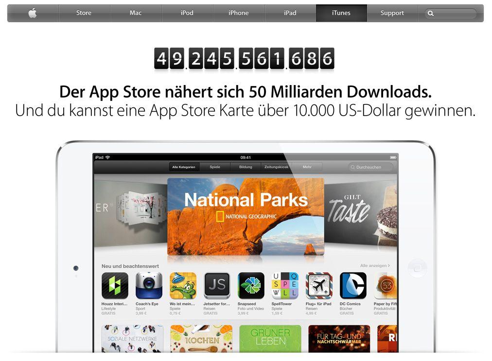 Apple startet Countdown für 50 Milliarden App-Store-Downloads