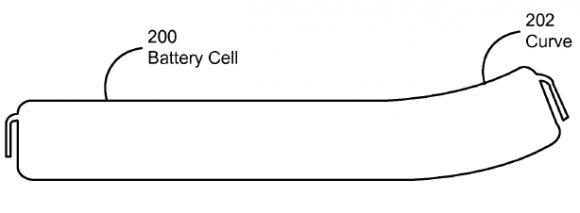 Apples Konzept einer krummen Batterie (Bild: via USPTO)
